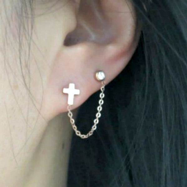 18k rose gold cross cartilage double piercing earrings for Helix piercing jewelry canada